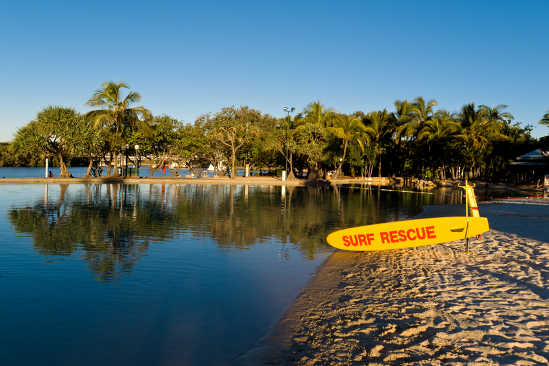 Southbank Parklands Beach Brisbane on a winters afternoon with Rescue board