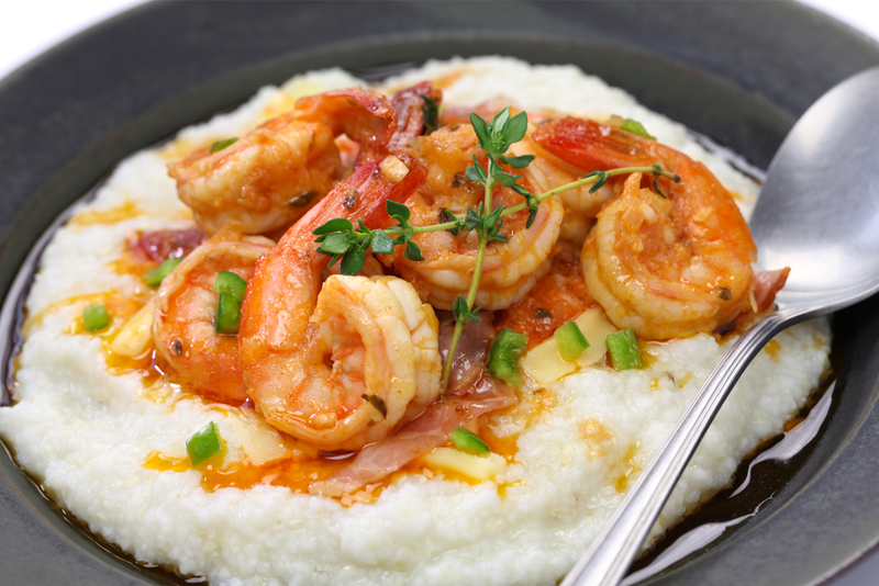 Shrimp and grits, a popular food in the southern states