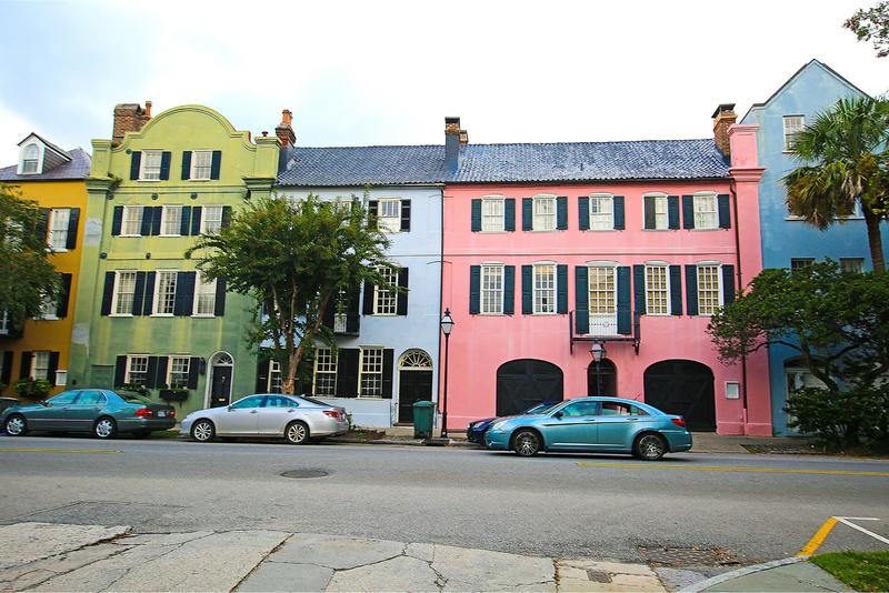 The Rainbow Row of houses in Charleston, SC
