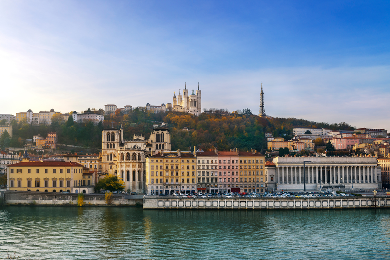 Lyon city and Fourviere Hill in front of the Saone River