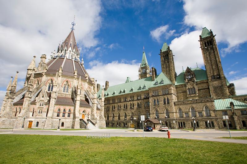 The historic Parliament buildings in Ottawa, Canada
