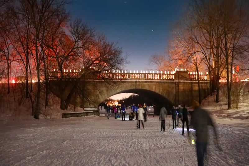 Winter fun at the annual Loppet Winter Festival on frozen Lake Of The Isles, Minneapolis, Minnesota