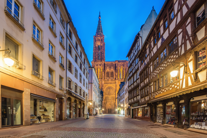 Cathedral of Our Lady (Notre Dame) of Strasbourg at night in Alsace, France