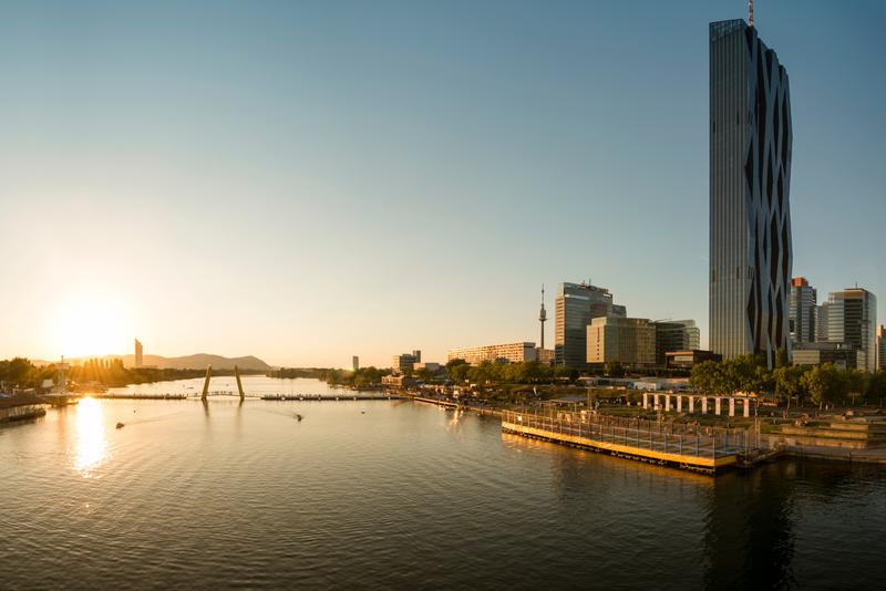 The Danube River flowing through Vienna