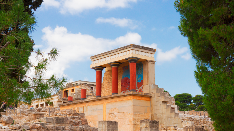 Ancient ruins of the famous palace at Knossos in Crete