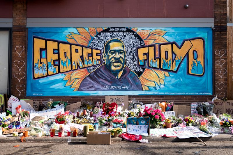 George Floyd mural outside Cup Foods at Chicago Ave and E 38th St in Minneapolis, Minnesota