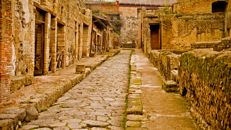 The remains of a street in Herculaneum