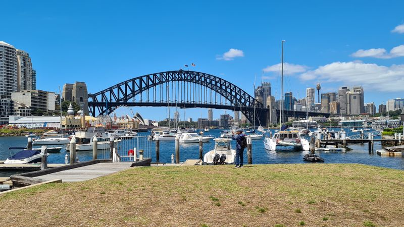 A walkway leading up to Sydney Harbour
