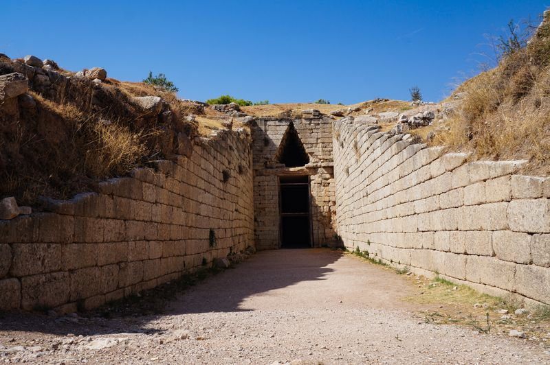 The Treasury of Atreus, also called the Tomb of Agamemnon, in Mycenae, Greece