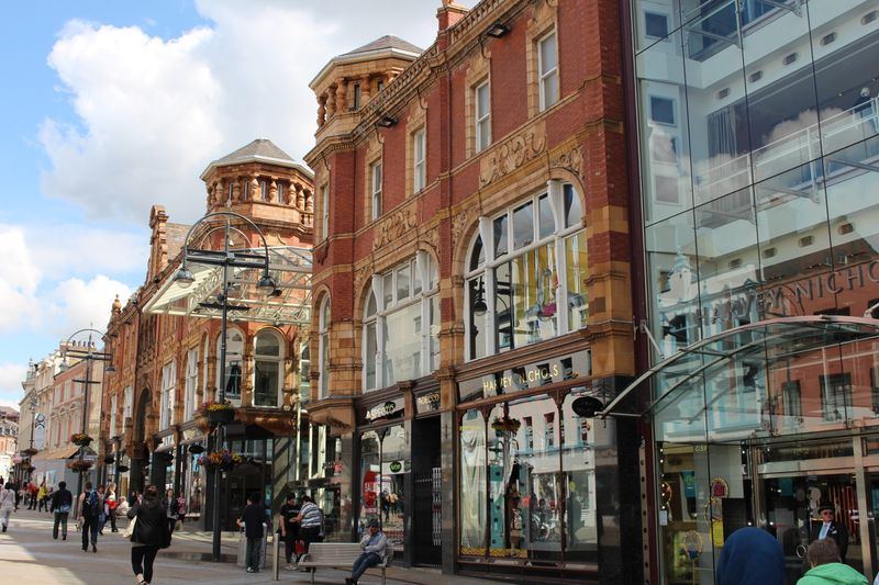 The shops on Briggate in Leeds.