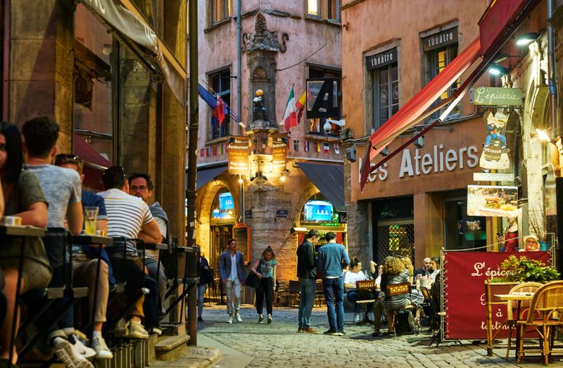 Cafes in the streets close to Place Bellecour in Lyon, France