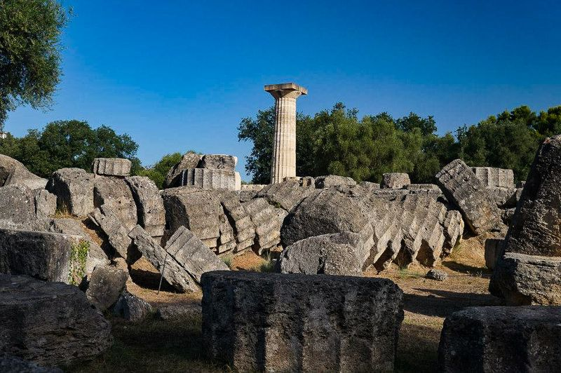 The ruins of the Temple of Zeus at Olympia