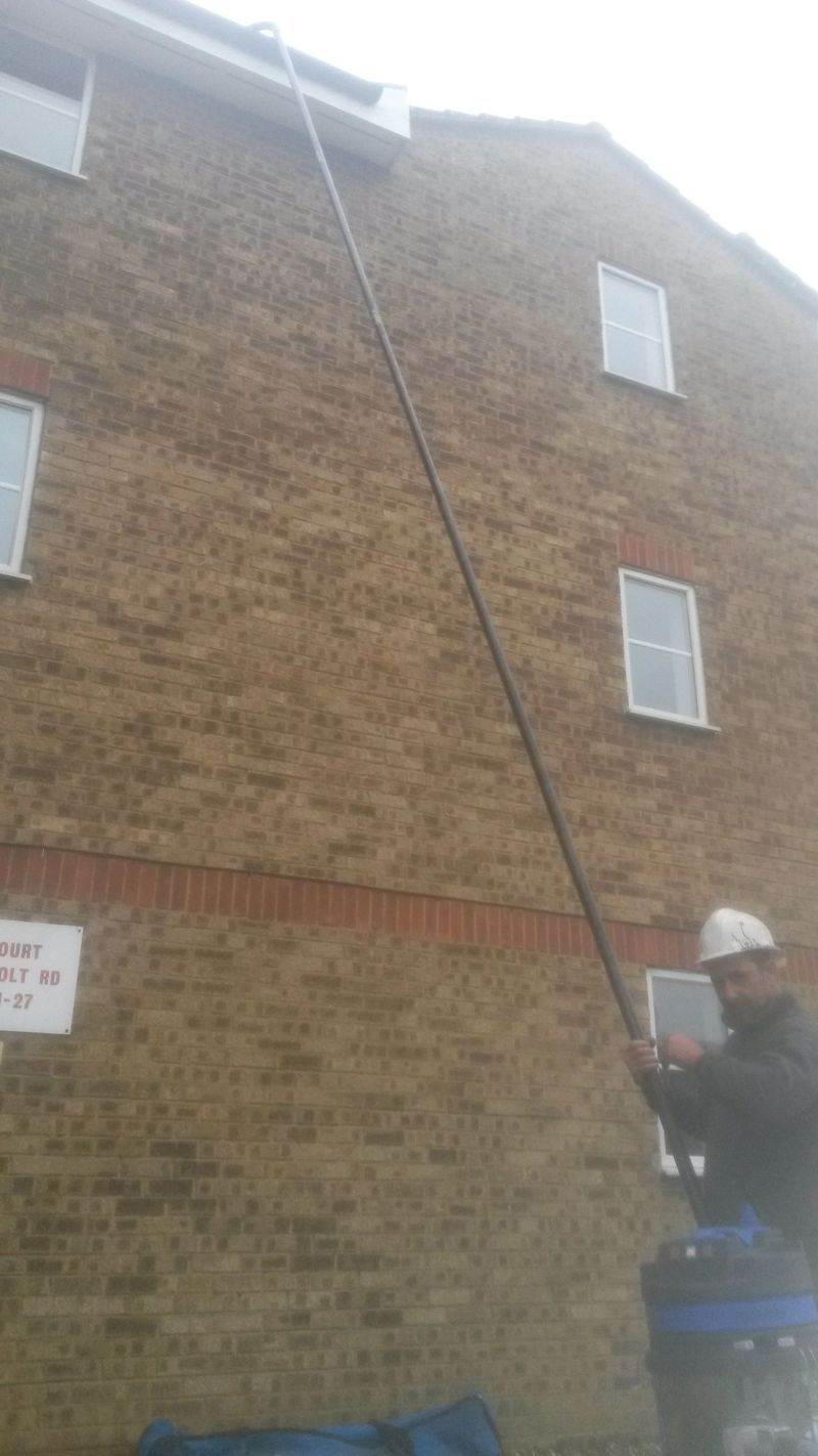 Our Sky vac high reach cctv gutter cleaning machne up to 48 ft high 5 storiesa