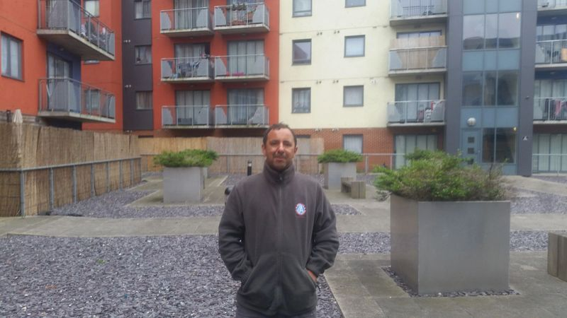 Danny at abbey court Barking prior to liquid repairs to the car park communal roof terrace