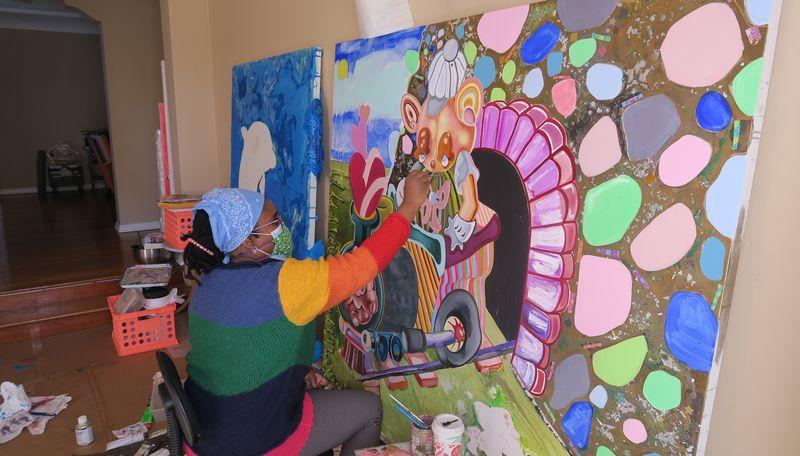 Alake studio painting