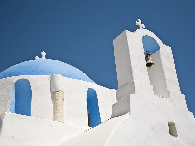 White and blue details of a church on Greek island