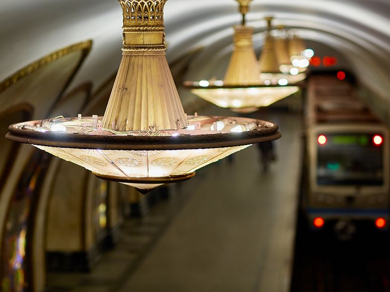 Beautiful interior of Moscow metro station