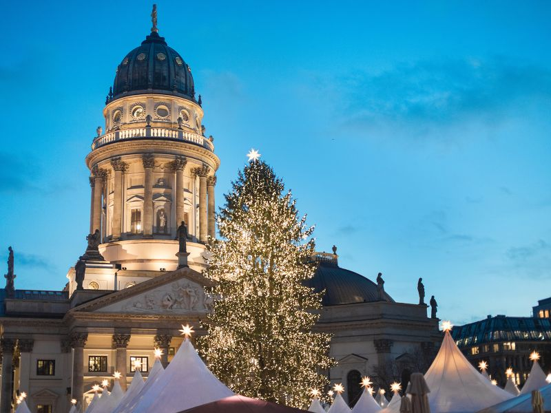 Evening shot of a central Christmas Market on Gendarmenmarkt square in Berlin Germany