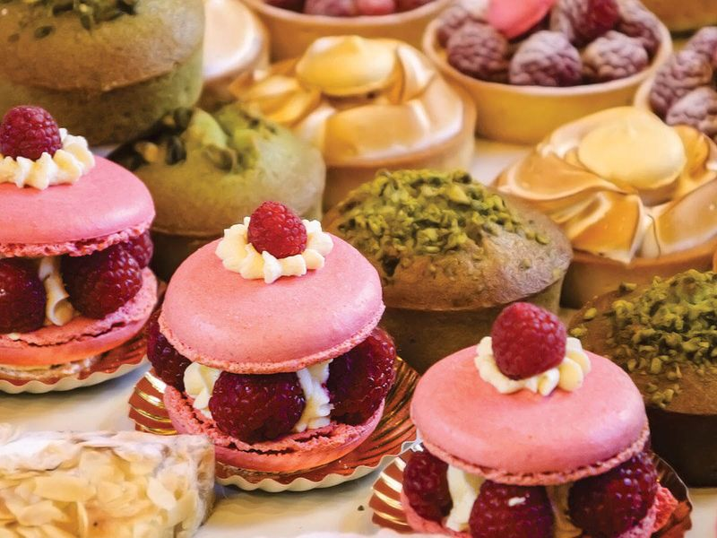 close up of french pastries