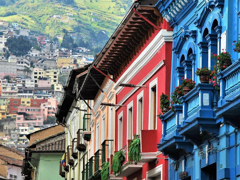 colorful buildings in quito city center in ecuador
