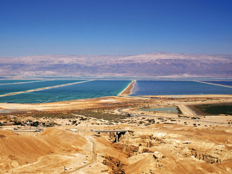 panoramic view of the dead sea in israel
