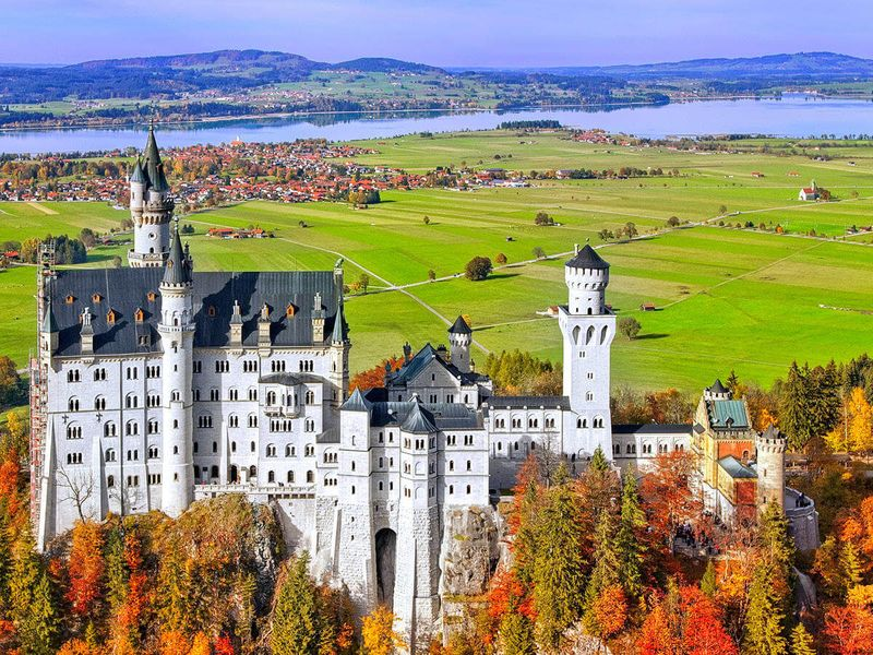 neuschwanstein castle in germany during the fall