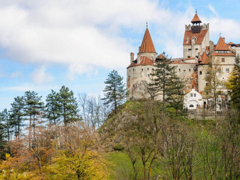 bran castle in romania surrounded by trees