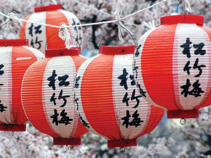 red and white japanese lanterns hanging from rope