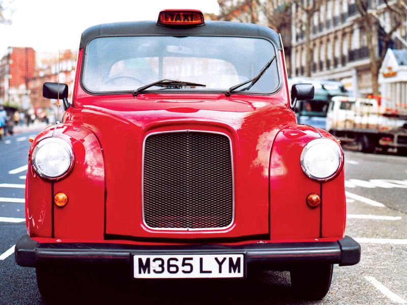 red taxi in london
