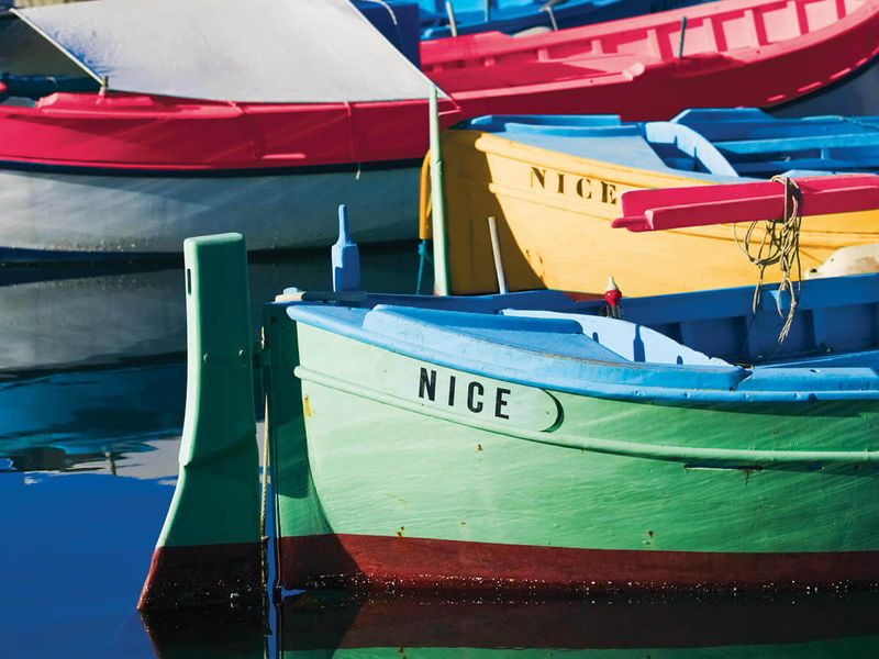 colofrul painted skiff boats in nice france