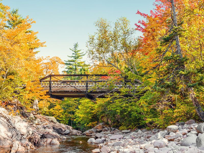 bridge over rocky river surrounded by fall foliage trees