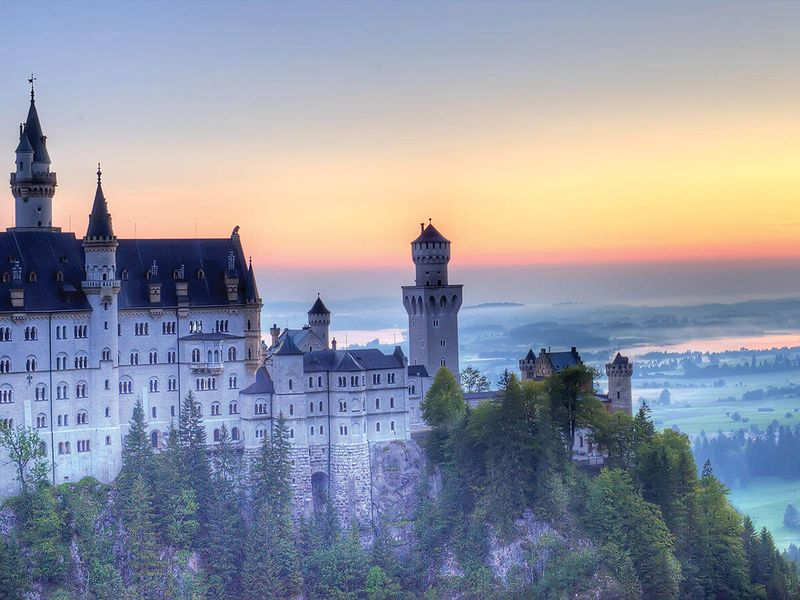 neuschwanstein castle surrounded by trees with fog rolling in during sunrise