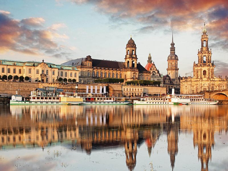 building reflecting in elbe river in dresden germany