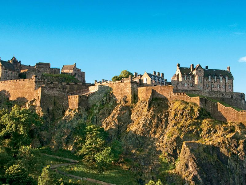 panoramic view of edinburgh castle in scotland on a sunny day