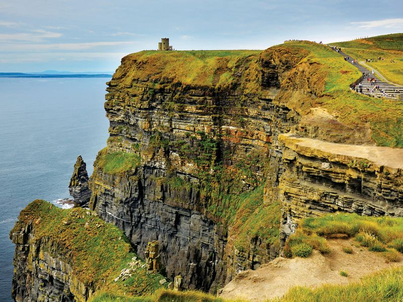 people walking along the coast of the cliffs of moher in ireland