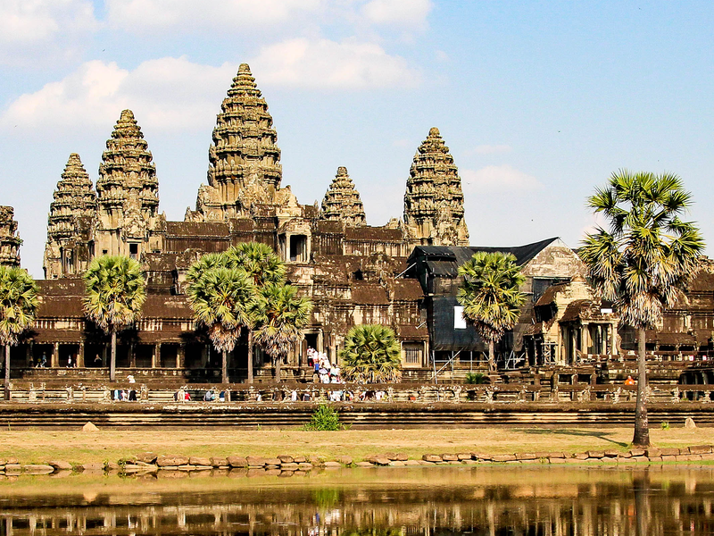 palm trees in front of the ruins of angkor wat in cambodia