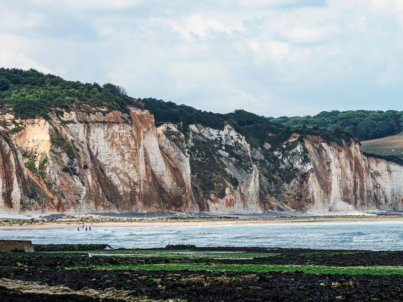 dieppe cliffs in normandy france at low tide
