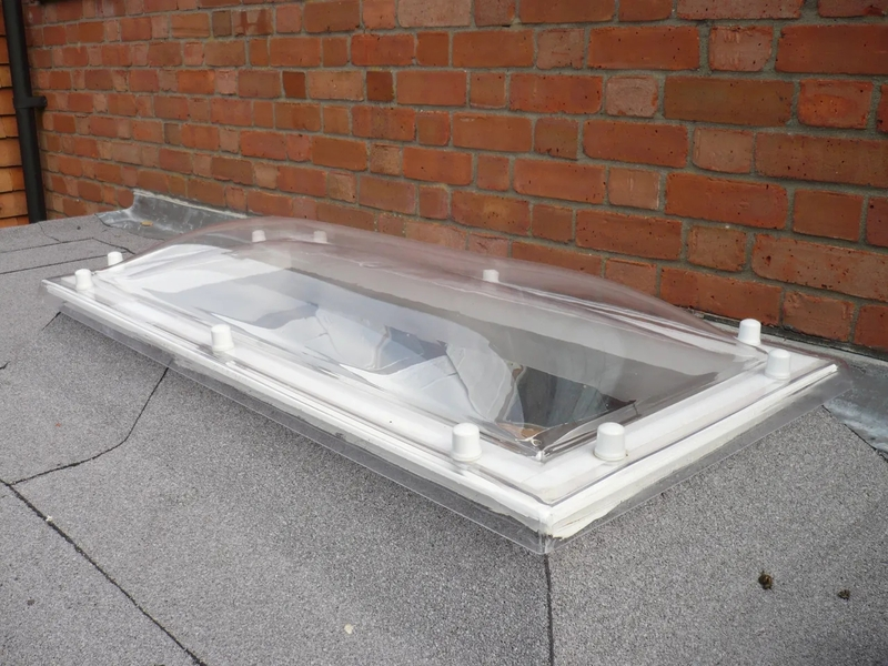 older traditional type of skylight, the polycarbonate dome you can still purchase today but with some of the newer glazed options these are becoming less popular choice