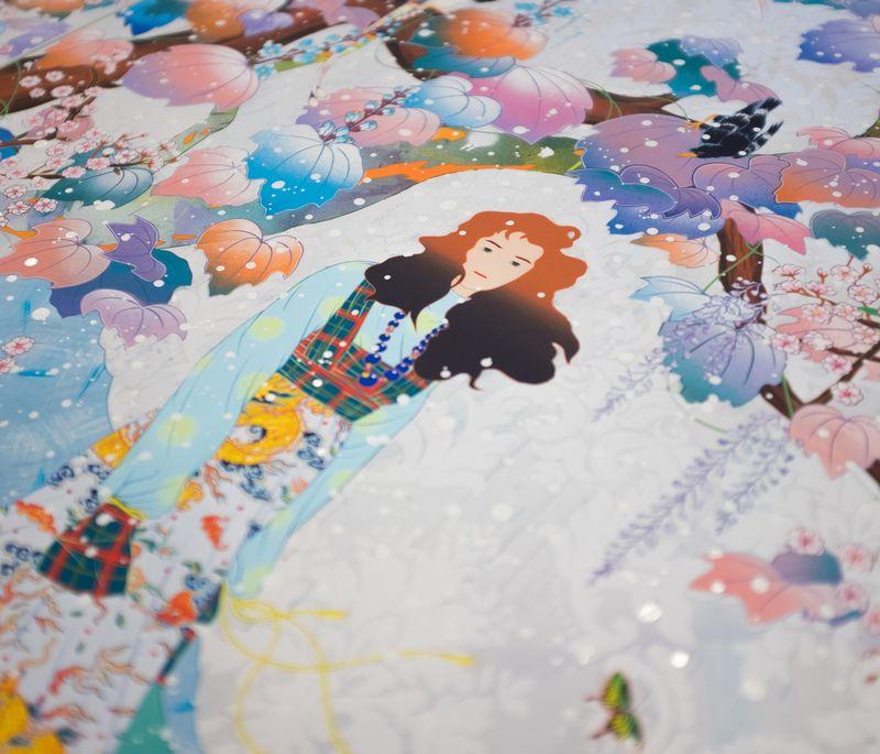 Close-up of colourful Matsuyama print