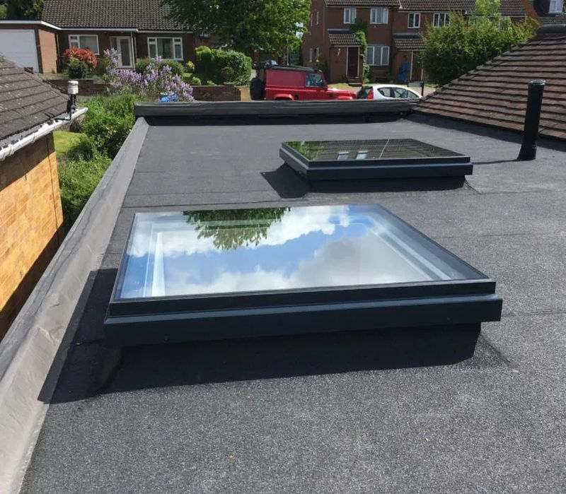 flat roof plasma type windows are a modern looking option