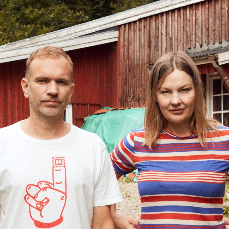 Nathalie Djurberg and Hans Berg standing outdoors together