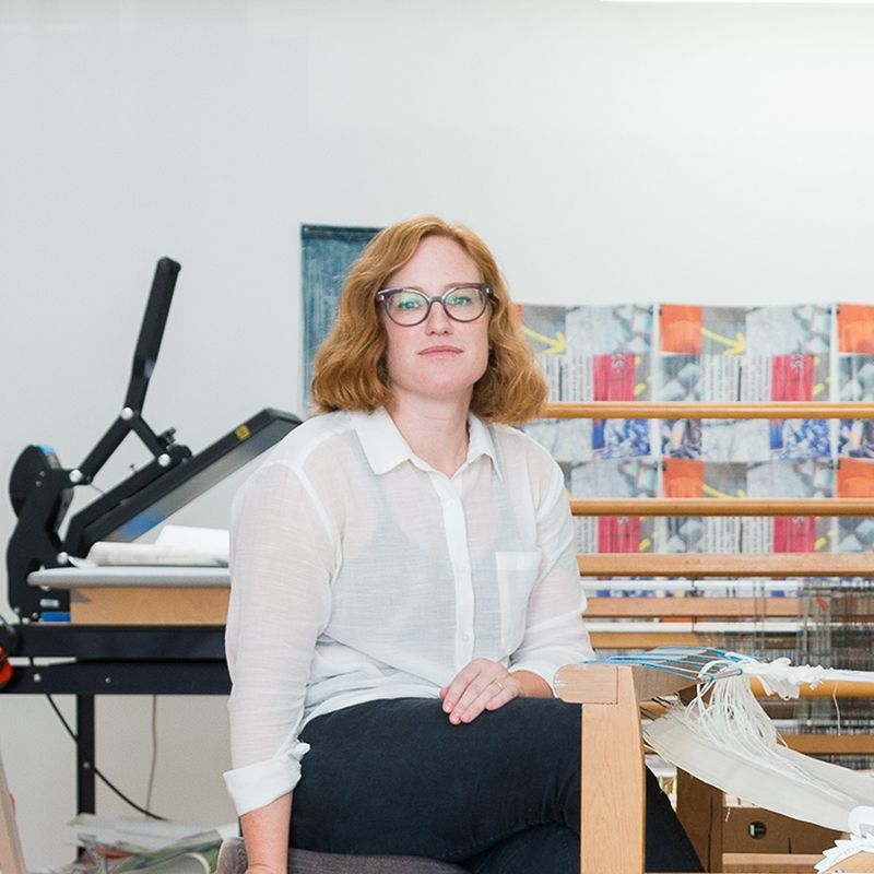 Margo Wolowiec sat in her studio looking at the camera