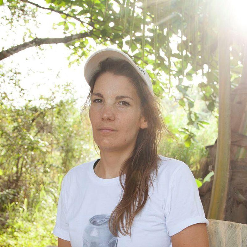Claudia Comte wearing a cap outdoors