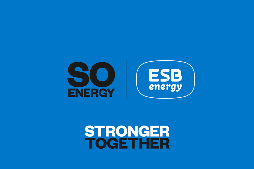 So Energy logo and ESB Energy logo above text reading 'stronger together' all on a blue background