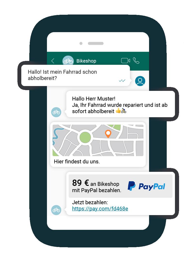 LINK Mobility - WhatsApp-Nachricht mit Zahlungs-Link via PayPal