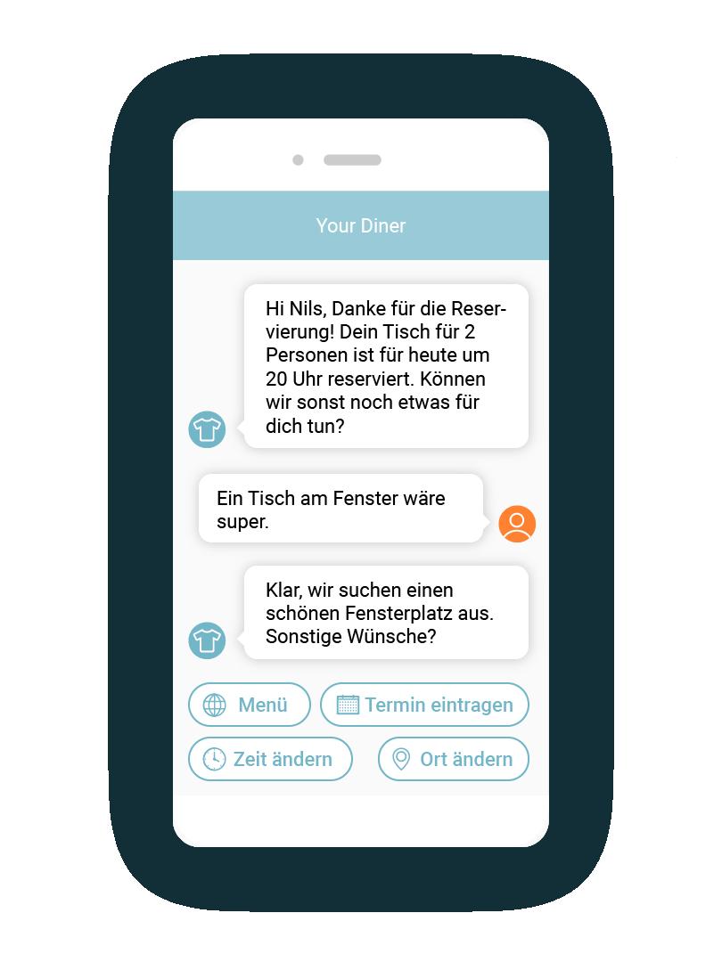 LINK Mobility - Tischreservierungen und automatisierter Kundensupport lassen sich mit einem Chatbot einfach abbilden