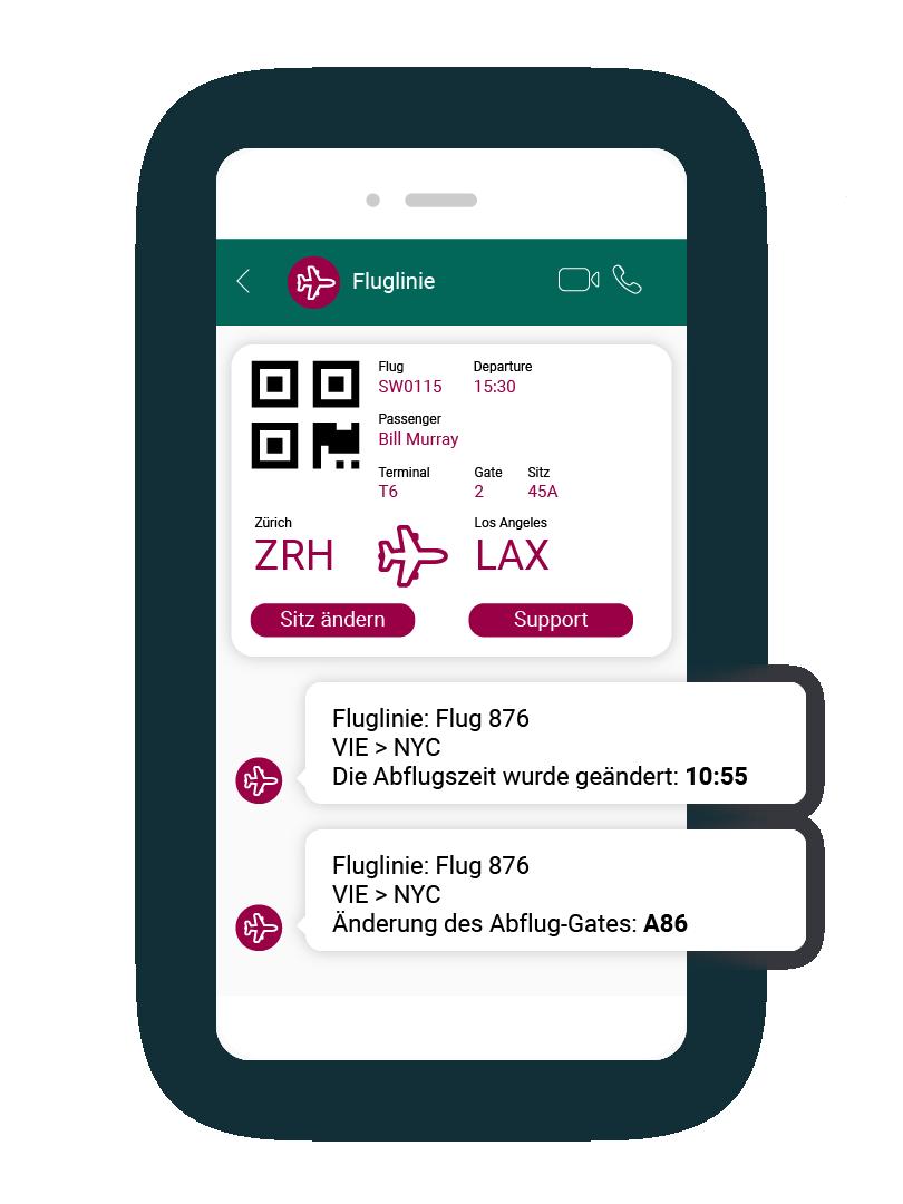 LINK Mobility - WhatsApp kann auch von Fluglinien für die Zusendung von Tickets oder Updates genutzt werden.