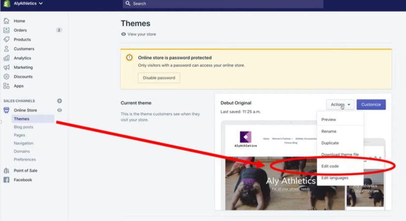 Remove Shopify text via Edit Code Option