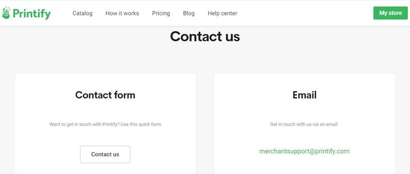 contact Printify