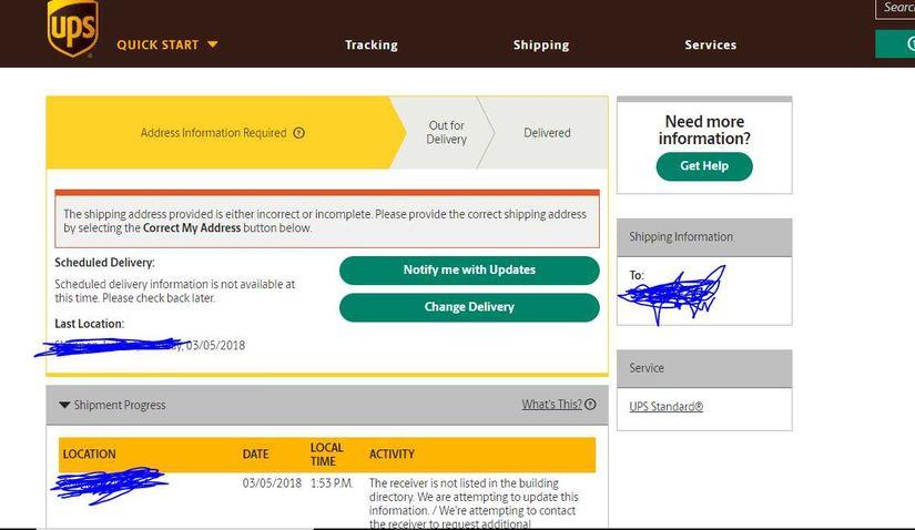 UPS Change My Address Example